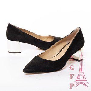 Ann Taylor black suede metallic heel pump Shoes